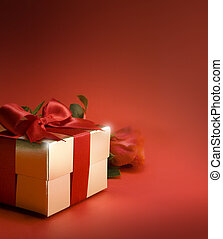 art gift box and red rose