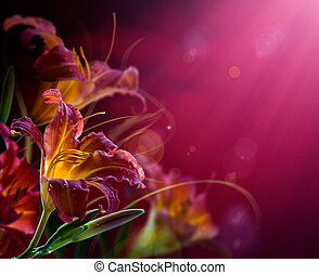 Flowers on a red background With copy-space - Art Flowers on...