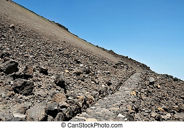 volcanic landscape in Teide National Park, in Tenerife, Spain