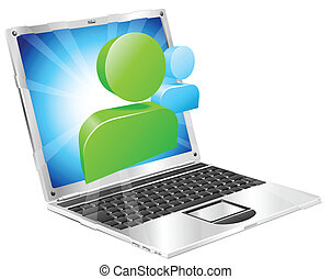 Social media icon laptop concept - Social media icon coming...