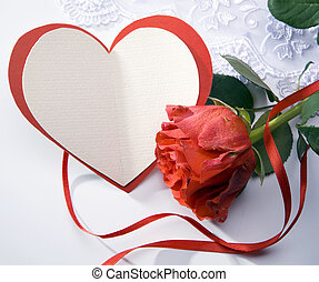 art greeting card with red roses and heart - greeting card...