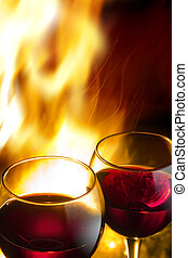 hot wine night, against the backdrop of a burning fire