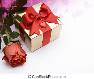 art greeting card with red roses and gift box