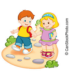 friendship - colored illustration of two children that go to...