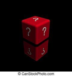 シンボル, 立方体, 質問, 赤, 印