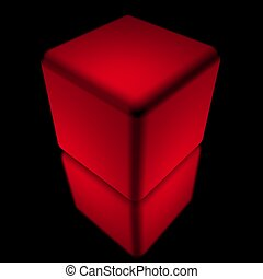 Red cube isolated on black background