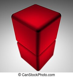 Red cube isolated on white background