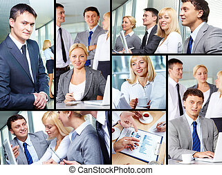 People at work - Collage of group of business people working...