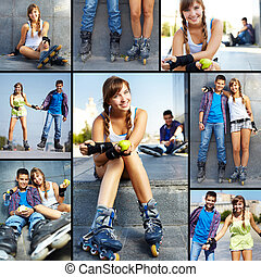 Teens at leisure - Collage of happy teens spending free time...