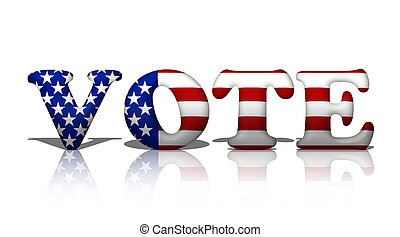 Vote in American - The word vote in the American flag...