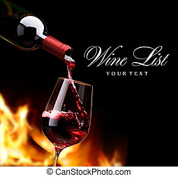 art wine list - pouring wine by the fireplace