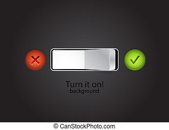 Turn on vector concept - Toggle switch on black background