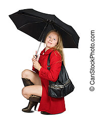 Girl in coat with umbrella - Girl in red coat and brown high...