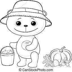 Teddy bear gardener, contours