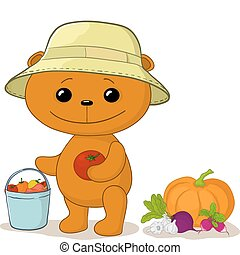 Teddy bear gardener with vegetables