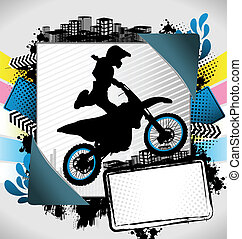 Abstract summer motorcyclist poster