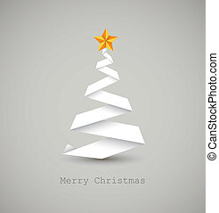 Simple vector christmas tree made from white paper stripe