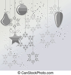 Light Christmas background with contour balls and snowflakes