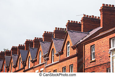 Roof of townhouse - Chimneys on the roof of town house