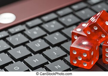 online - view of red dices to gamble and play online