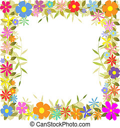 Floral Border - A Floral Border with Flowers and Leaves