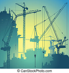 Tower Cranes - Lots of Tower Cranes on Construction Site