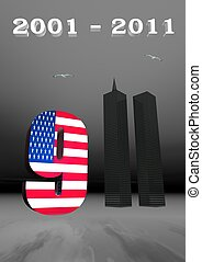 9-11 remembrance - USA flag and World Trade Center twin...
