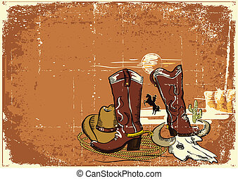 wild western background on old paper texture. - Cowboy...