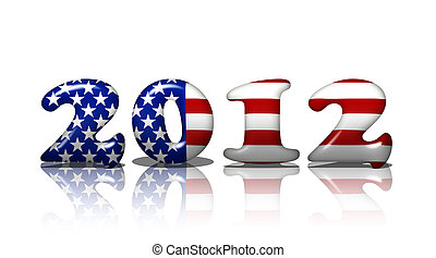 American in 2012 - The word 2012 in the American flag...