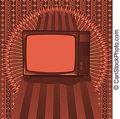 Vintage background design with antique TV
