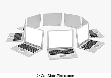 Laptops in circle isolated on white