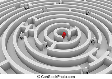 People into the round maze. Search of solution. Teamwork.