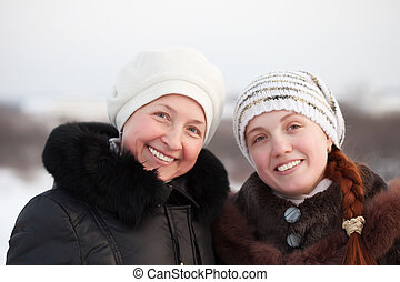 happy women in winter