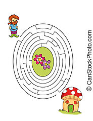game of the labyrinth, the gnome - colored illustration of a...