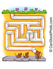 the labyrinth of the mice - colored illustration of a game...
