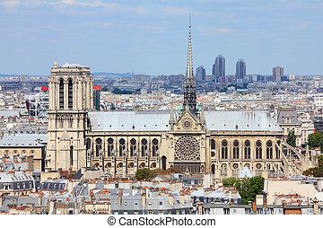 Paris - Notre Dame - Paris, France - aerial city view with...
