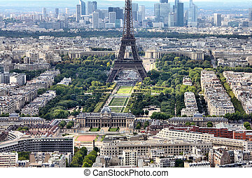 Paris, France - aerial city view Eiffel Tower and La Defense...