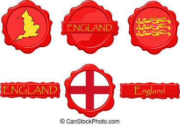 England wax stamps with flag, seal, map and name