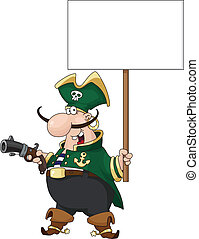 pirate with blank sign - illustration of a pirate with blank...