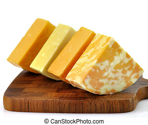 cheese assortment on a cutting board