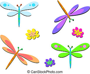 Mix of Dragonflies with Dots - Here is a set of Dragonflies...