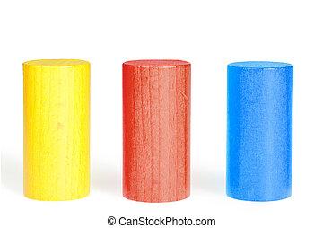 de madera, color, cilindros