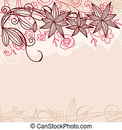 Floral pastel beige frame with contour flowers