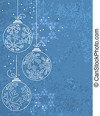 Blue Christmas background with contour balls and snowflakes