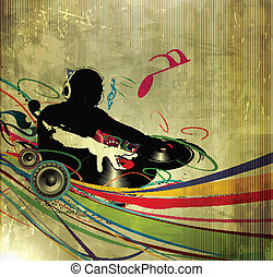 dj party poster - Abstract vector illustration of an dj man...
