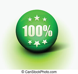 100 off icon - Vector 3d 100 off green sphere isolated