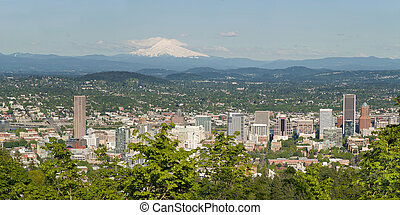 Portland Oregon Cityscape and Mount Hood