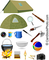 Vector collection of tourist accessories