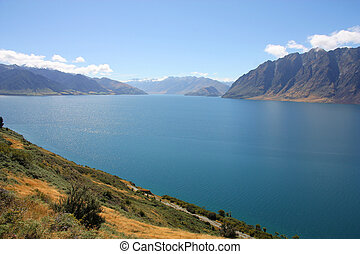 New Zealand - Lake Hawea. Otago district landscape.