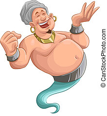 smilley genie - happy fat genie smiley in the moment when he...